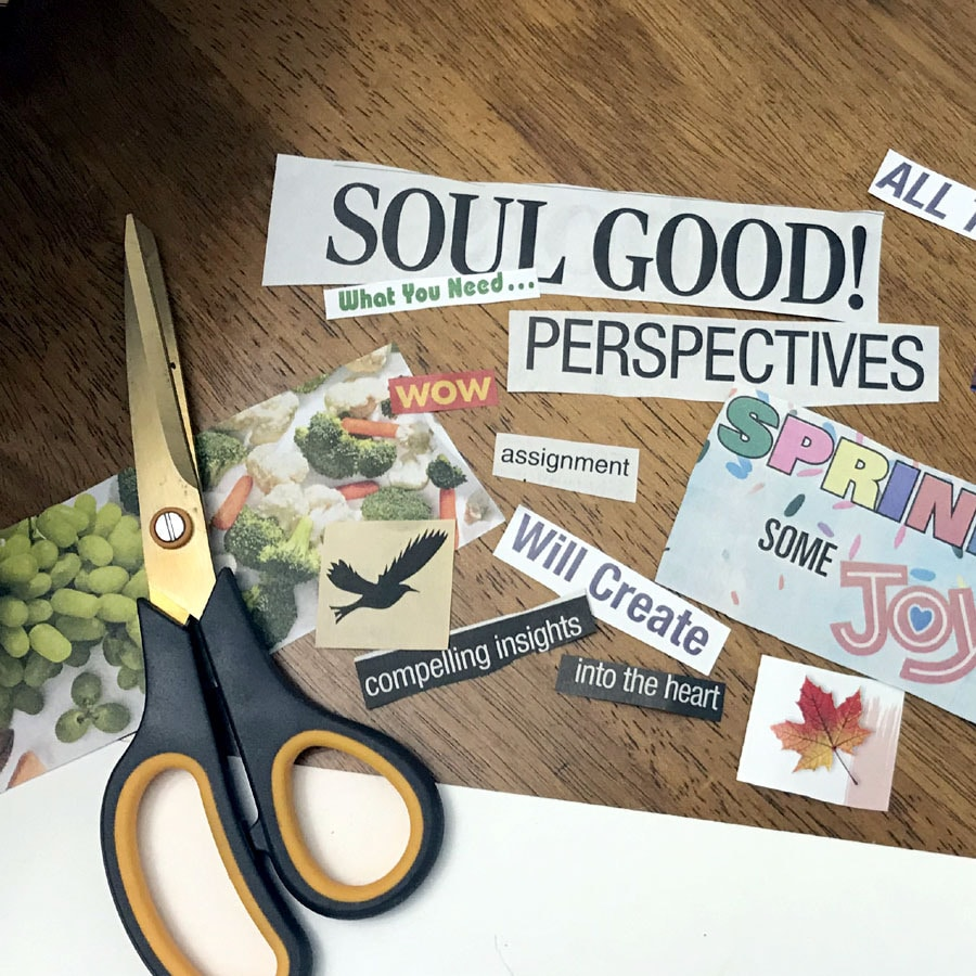 crafting a vision board with scissors and clippings
