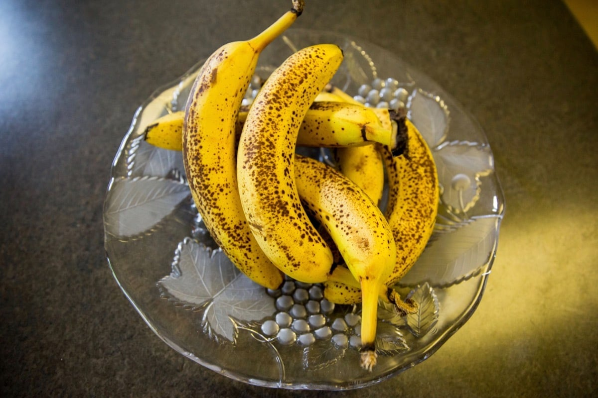 Ripe bananas are a key ingredient when making vegan banana bread.