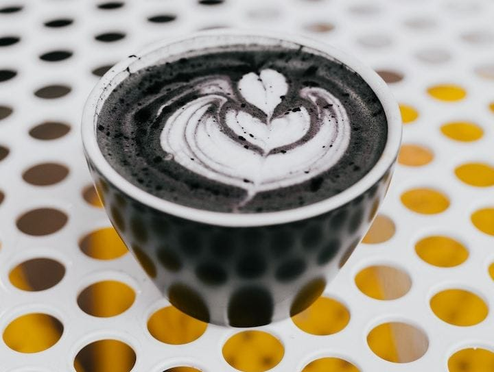 Activated charcoal latte drink