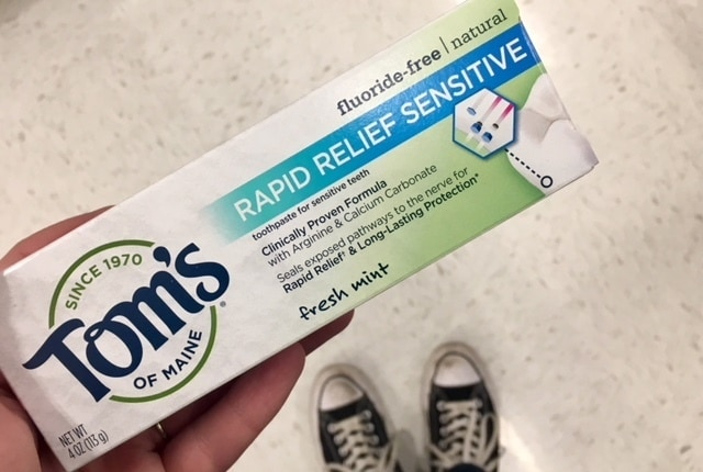 box of Tom's of Maine Rapid Relief Sensitive natural toothpaste