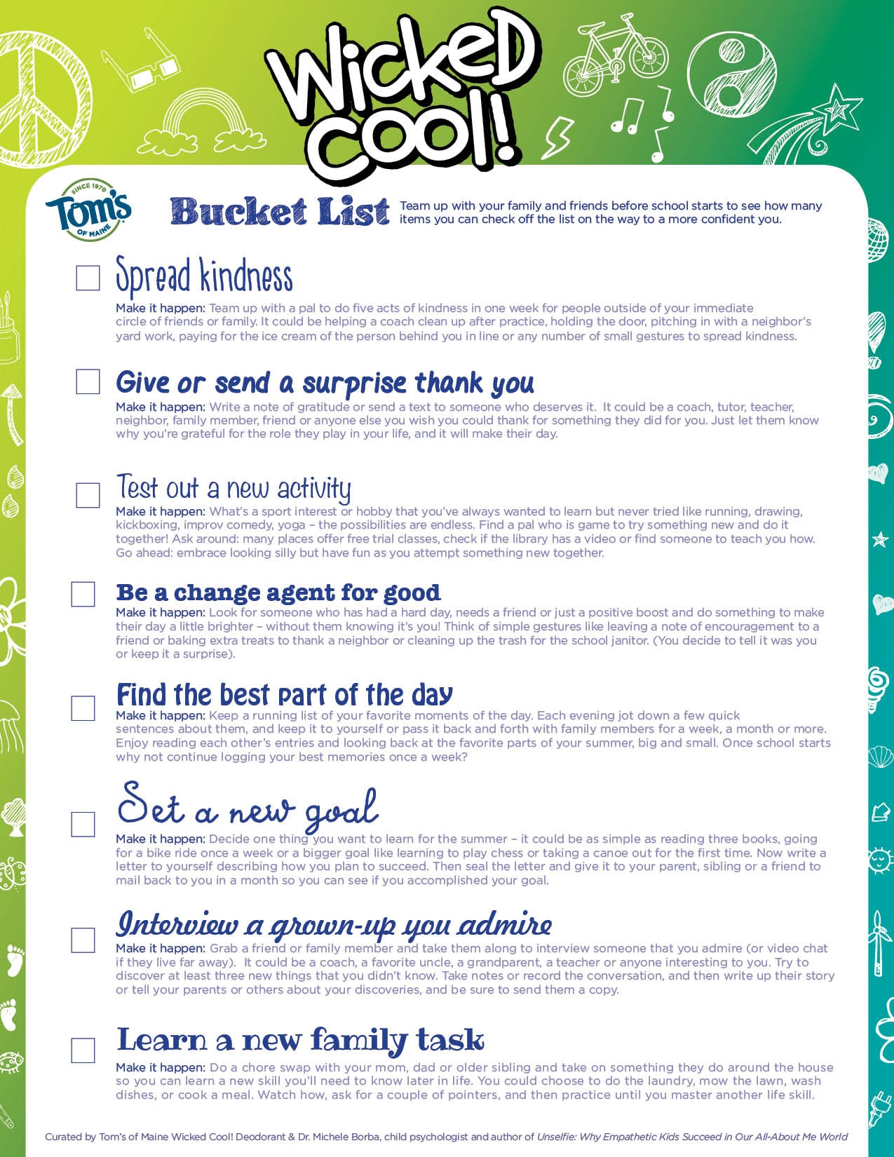 Wicked Cool! Bucket List Printable