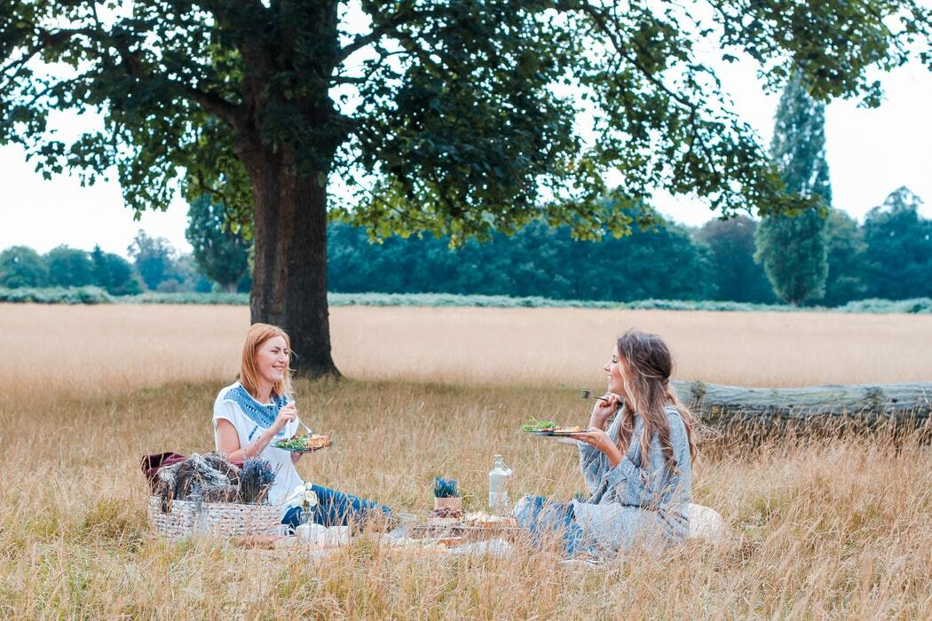 two ladies have a picnic in a field