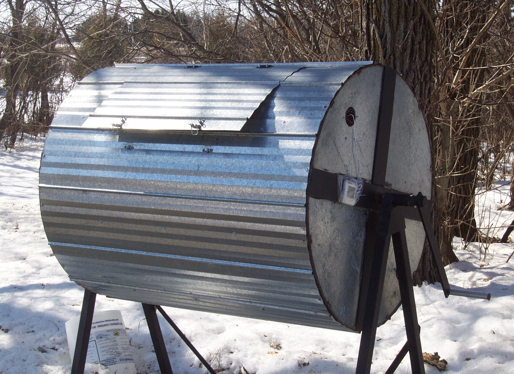 large metal compost drum