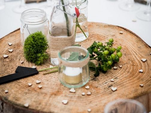 tree stump cut into centerpiece decoration