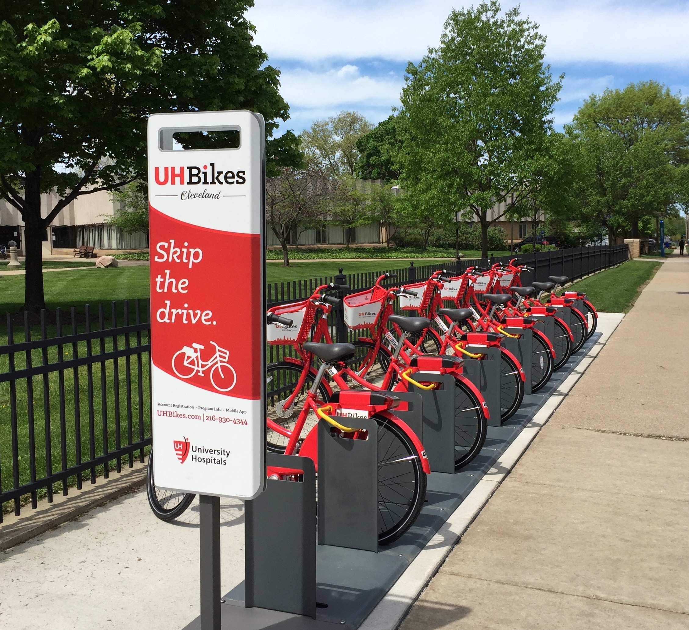 bike sharing hub with red bikes