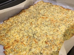 Pizza crust made with cauliflower.