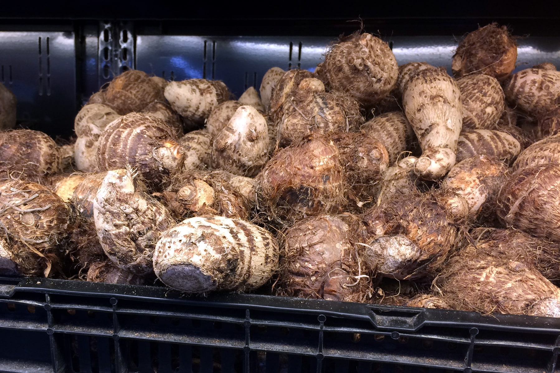 Fresh taro root at the grocery store