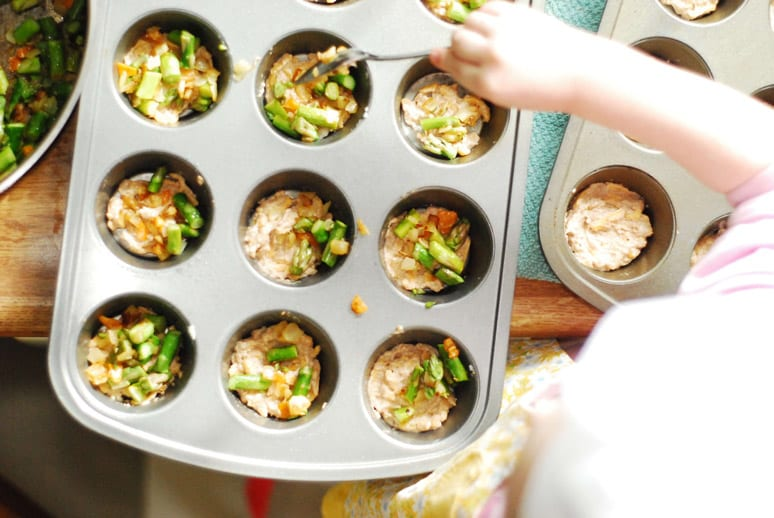 Asparagus quiche mixture in muffin tins