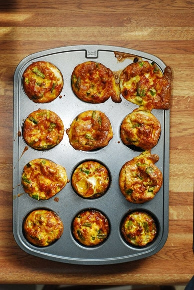 Cooked asparagus quiches