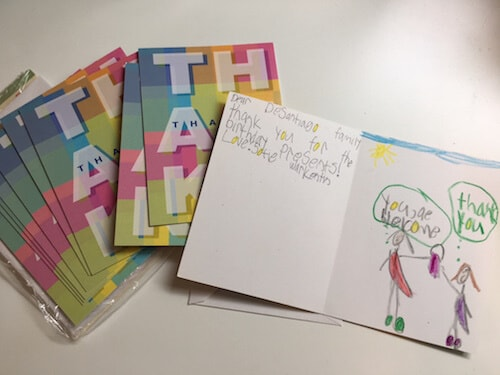 Writing thank you cards is a great way to teach gratitude to kids.