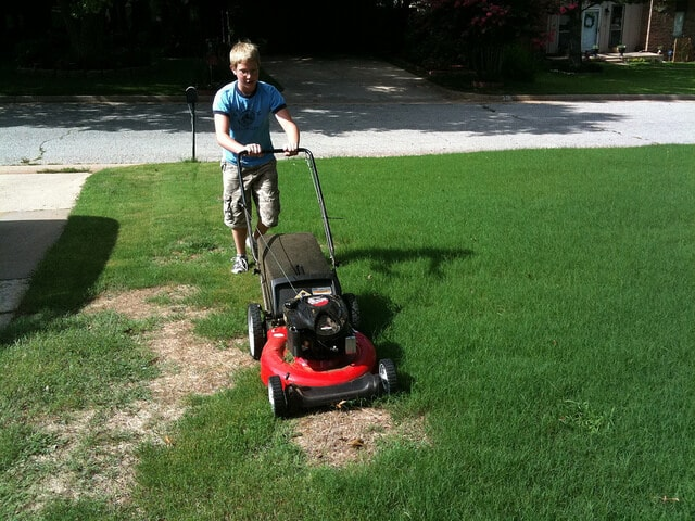 Mowing the lawn is a great workout.