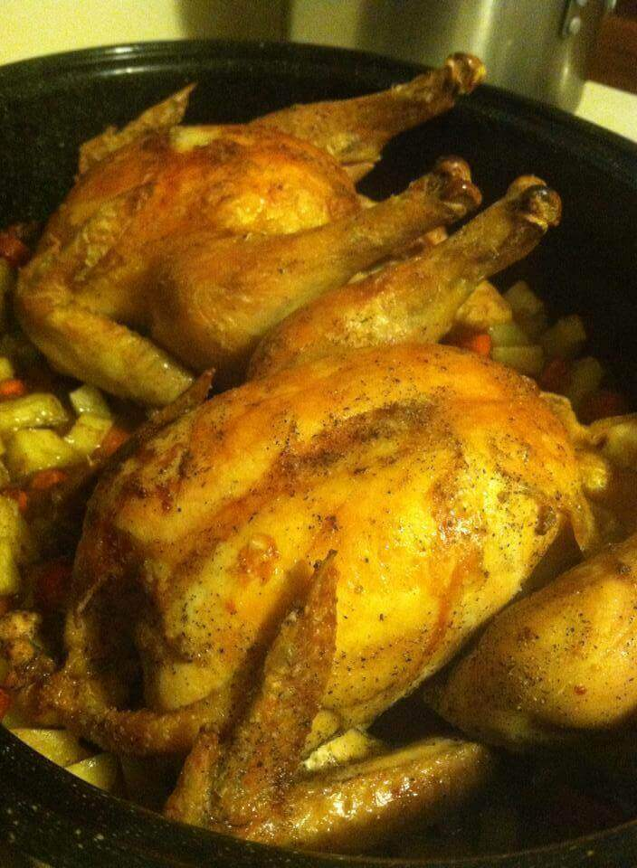 double roasted chicken in crock pot
