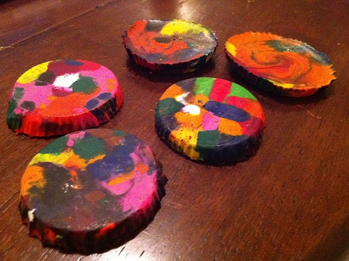 Rainbow crayons made from reused crayon pieces.