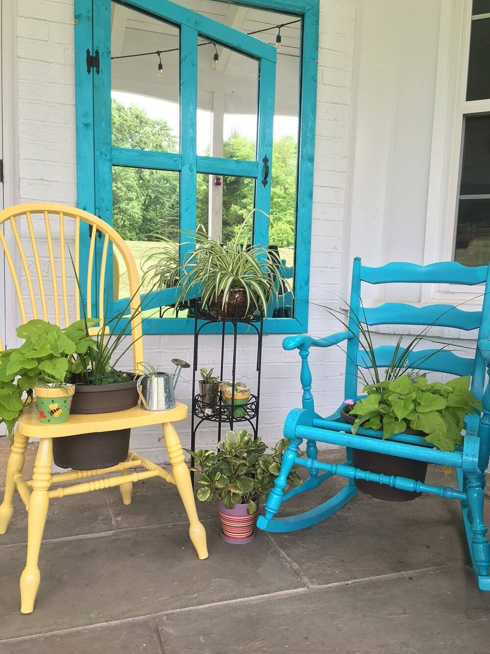 Upcycled garden containers, like these reused chairs, cut waste and cultivate plants.